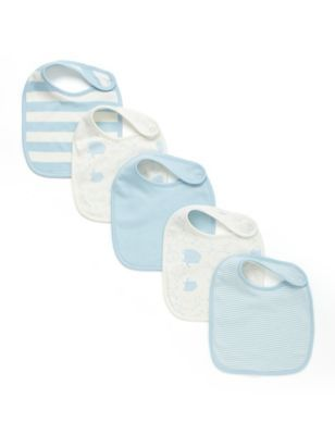 M&S 5 Pack Pure Cotton Assorted Bibs