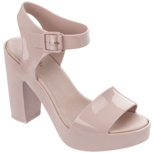 Melissa Mar Heel Blush (3 710 UAH) ❤ liked on Polyvore featuring shoes, sandals, evening sandals, block heel shoes, melissa shoes, special occasion shoes and melissa sandals