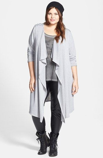 Soprano Studded Long Open Cardigan (Plus Size) available at #Nordstrom