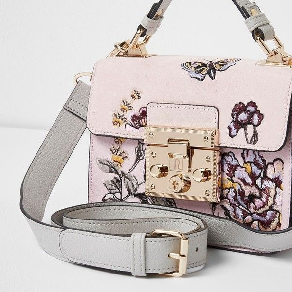 River Island Pink embroidered mini lock front satchel bag (£40) ❤ liked on Polyvore featuring bags, handbags, bags / purses, pink, satchels, women, top handle purse, man satchel bag, pink purse and hand bags