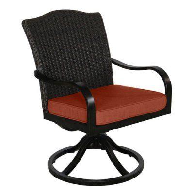 Outdoor Royal Garden Indigo Wicker Swivel Dining Chair - Set of 2 - Brick Brick - A105200-02-SCTB