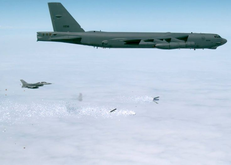 B-52 testers at  Edwards Air Force Base complete leaflet bomb drops.