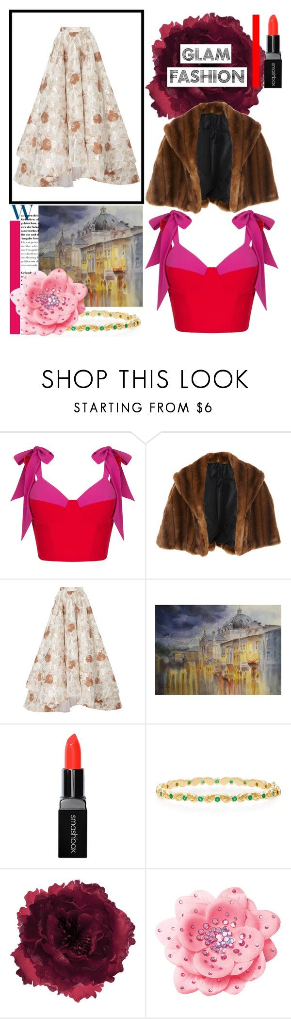 """""""Unexpected Pairings"""" by osmianannya ❤ liked on Polyvore featuring Rasario, Marei 1998, Christian Siriano, Smashbox, Temple St. Clair, Accessorize, skirt, makeup, jewelry and art"""