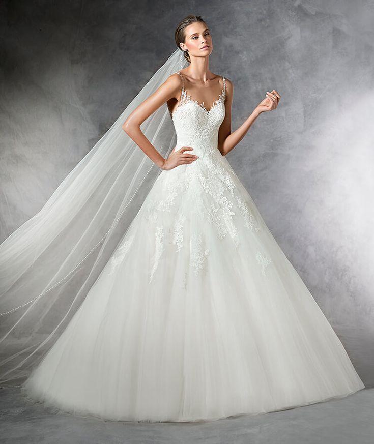 PRALA - Robe de mariée en tulle ornée de détails de pierres fines, silhouette princesse