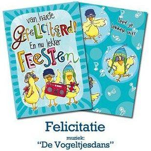 """Kaart met muziek 13 Gefeliciteerd """"De Vogeltjesdans""""   Verjaardag   kaartfanaat"""
