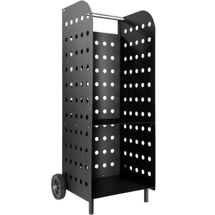Tectake Porte Buche Sur Roulettes 55 Cm X 45 Cm X 104 Cm En Metal Noir Laque Bois De Chauffage Porte Buche Panier Bois
