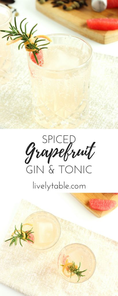 The gin and tonic gets a fun holiday upgrade with grapefruit and spiced simple syrup in this Spiced Grapefruit Gin and Tonic. Sponsored by Winter Sweetz Grapefruit. | via livelytable.com