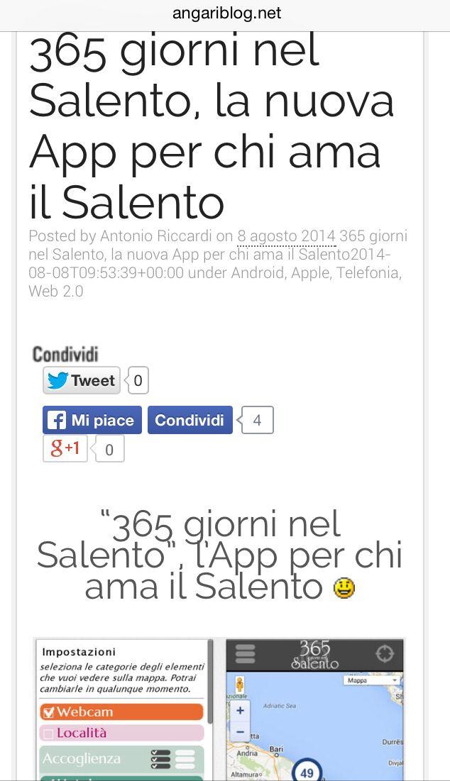 Angariblog per 365 giorni nel Salento App