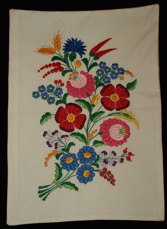 Hand Embroidered White Hungarian Kalocsa Floral Pillow case from the 80s