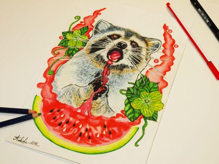 Raccoon waterlemon tattoo design by @ankafaink