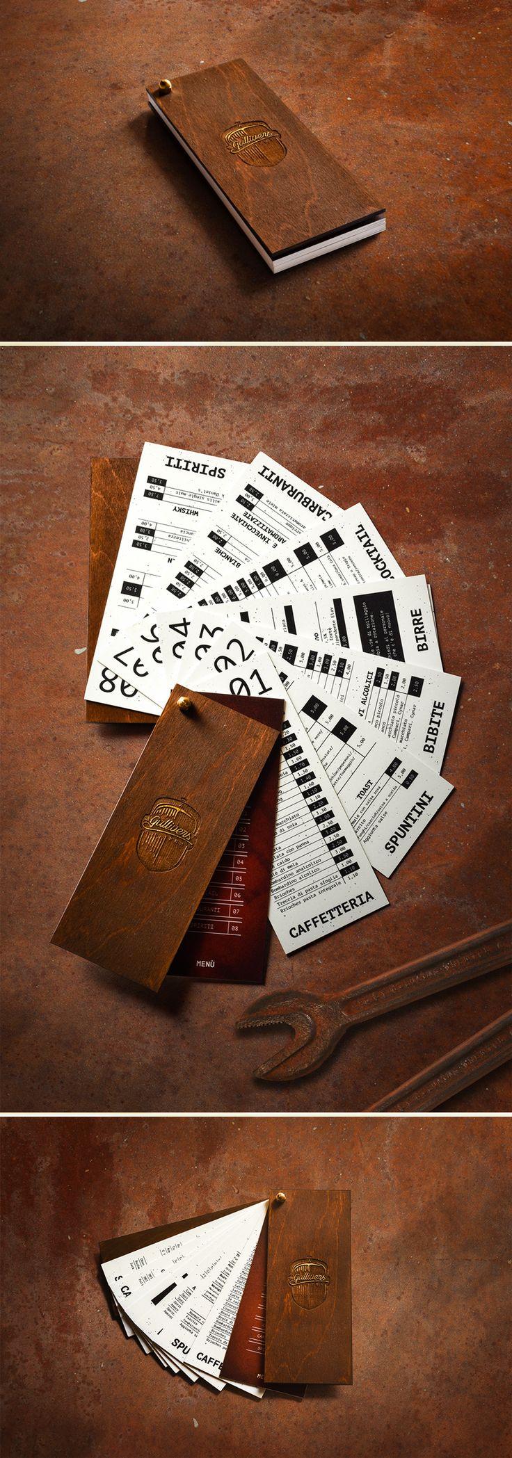 The Gullivers Pub menu | www.ofmagnet.com #graphic #design #menu #handmade #pub #rusty #wood #black #white #palette #industrial #garage #food #café