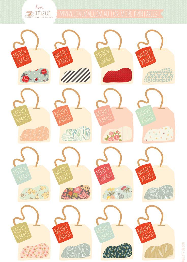Free printable tea bag gift tags !