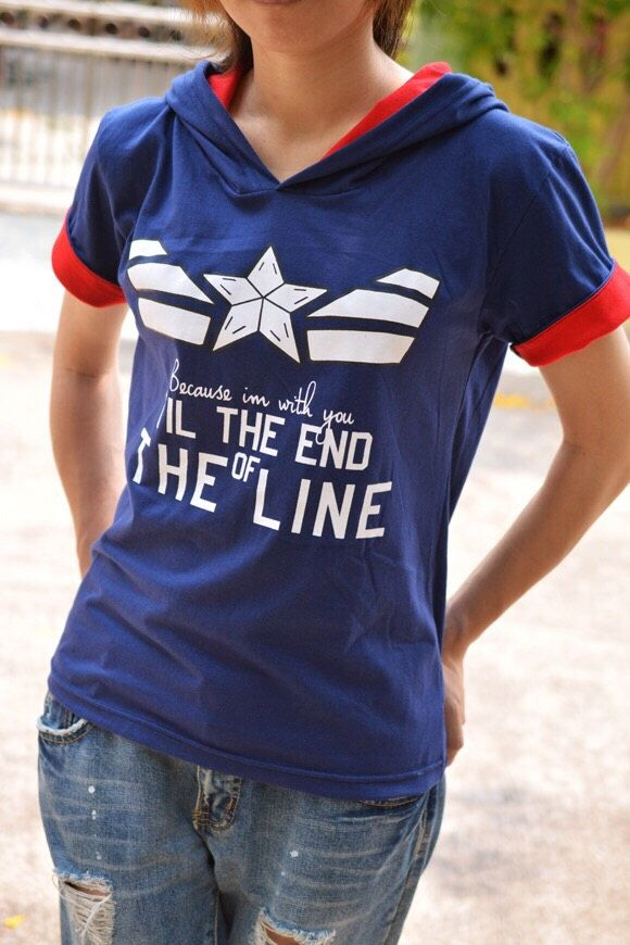 Captain America and Bucy t-shirt hoodie blue navy and red white star with quote because I'm with you till the end of the line short sleeve by kusuriurisan on Etsy https://www.etsy.com/listing/226794892/captain-america-and-bucy-t-shirt-hoodie