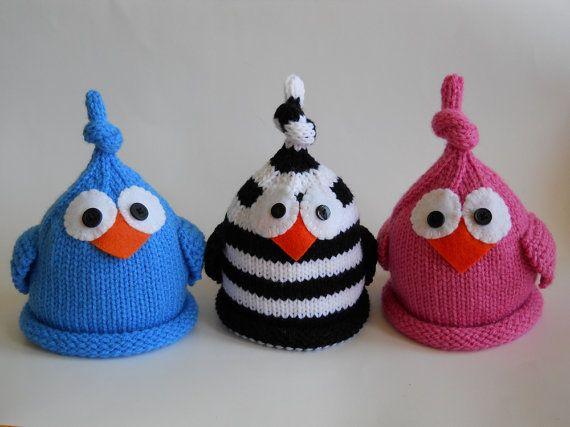 Knit Baby Bird Hat Newborn Infant Cap Blue Or by LittleBirdLucy, $22.99
