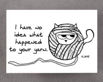 Angry Cat Steals Yarn - Funny Card for Cat Lovers, Knitters and Crocheters