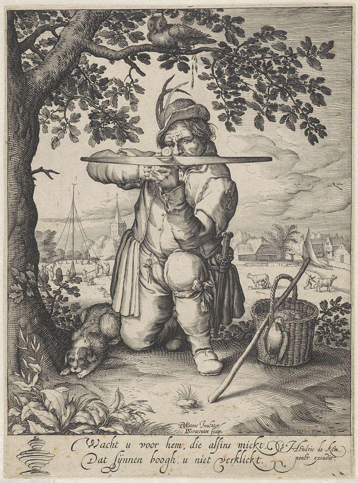 Pieter Serwouters   Man met een kruisboog, Pieter Serwouters, Hendrick de Kempeneer, 1601 - 1657   Een geknielde man richt nauwkeurig zijn kruisboog. Naast hem staat een mand met geschoten vogels, aan zijn andere zijde ligt een hond. Op een boomtak boven hem zit een uil die de jager op zijn hoofd poept. Op de achtergrond een schutterstoernooi, waarbij met kruisbogen op een vogel op een paal geschoten wordt. Onder de prent twee versregels in het Nederlands.