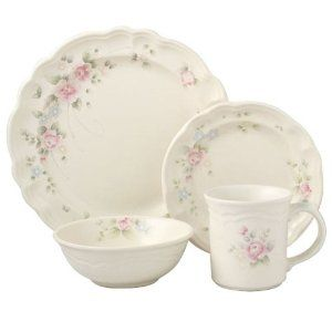 Pfaltzgraff Tea Rose 16-Piece Dinnerware Set, Service for 4  Constructed of durable, chip-resistant stoneware, the set's delicately fresh pattern offsets its resilience and strength with graceful ease. A dainty scattering of pastel pink and blue watercolor roses and green foliage dance across each piece, infusing the dinnerware with a tasteful blend of Victorian-inspired romance and country-style charm.