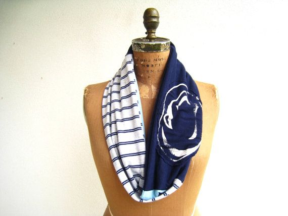 Penn State T Shirt Infinity Scarf / Gray Blue White / by ohzie
