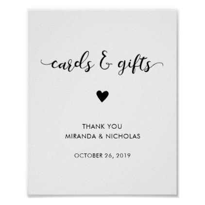 #simple - #Monochrome wedding cards and gifts sign