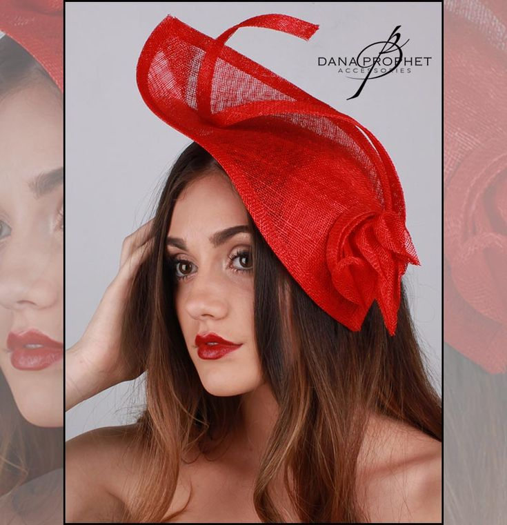 Red Dramatic Sinamay Fascinator Do you have a flair for the dramatic? Then this head-turner is for you! Cherry red sinamay fascinator with lily accents.  #hat #hats #fascinators #races #durbanjuly #horse #horserace #fashionista #fashion #style #kentuckyderby #trending #royal #sinamay #celebrations #weddings #bridal #bridesmaids #derbyhat #pillbox #headpiece #melbournecup #royalascot #derbyday #Oaksday #accessories #danaprophetaccessories #Lily #Red #prophet