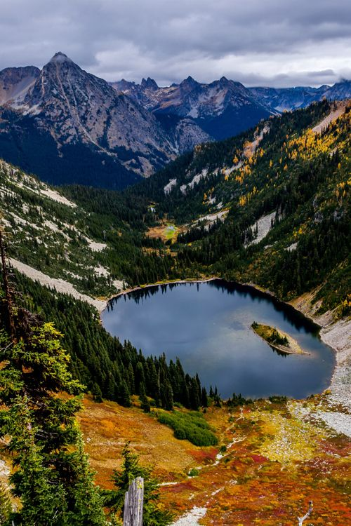 The autumnal face of Lake Anne. Photo taken by Amit Hegde from Maple Pass Loop Trail (North Cascades, Washington) Lake Anne, from Maple Pass Loop Trail, North Cascades, WA, USA.