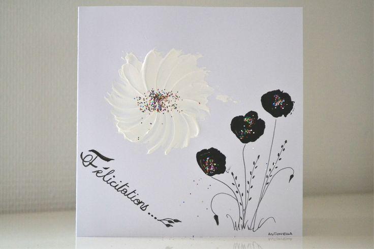Carte mariage peinte la main carte romantique mariage blanc noir carte f licitations - Photo romantique noir et blanc ...
