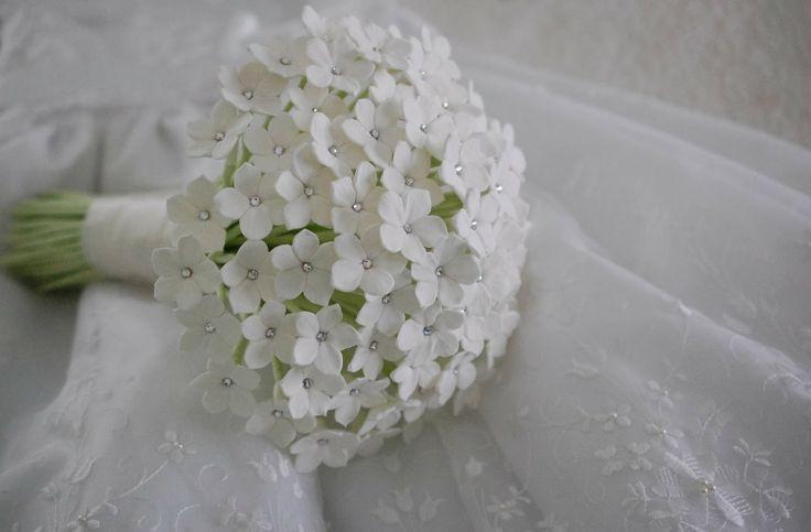 Handcrafted everlasting Stephanotis wedding bouquet for a bride in UK | Handmade Flowers