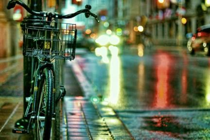 riding bicycles on wet streets is my favorite! danger isn't my middle name, i just think wet roads are fun.