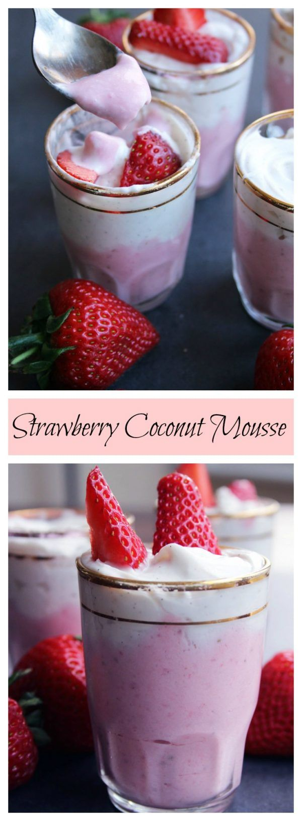 So incredibly easy and impossibly delicious: Strawberry Coconut Mousse. Only four ingredients, vegan, low carb and refined sugar free!