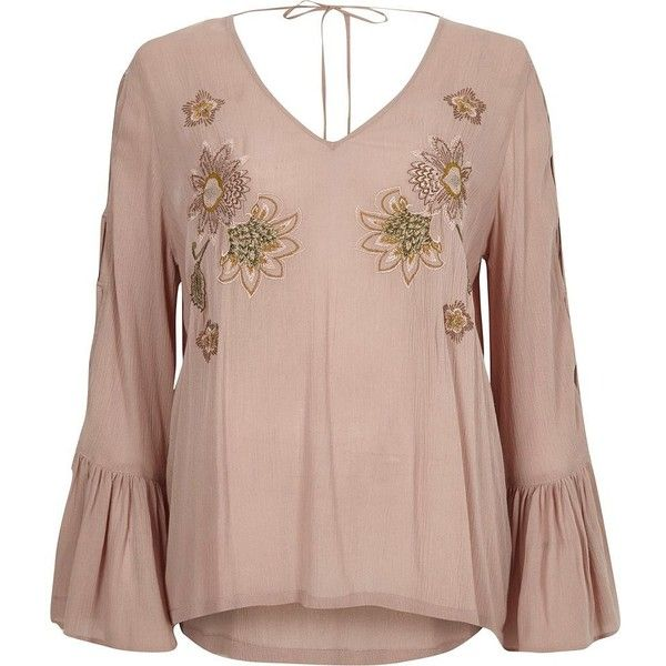 River Island Pink floral embroidered flared sleeve top ($70) ❤ liked on Polyvore featuring tops, t-shirts, pink, plain t-shirts / tanks, t shirts / tanks, women, long neck ties, brown t shirt, tall tees and tall t shirts