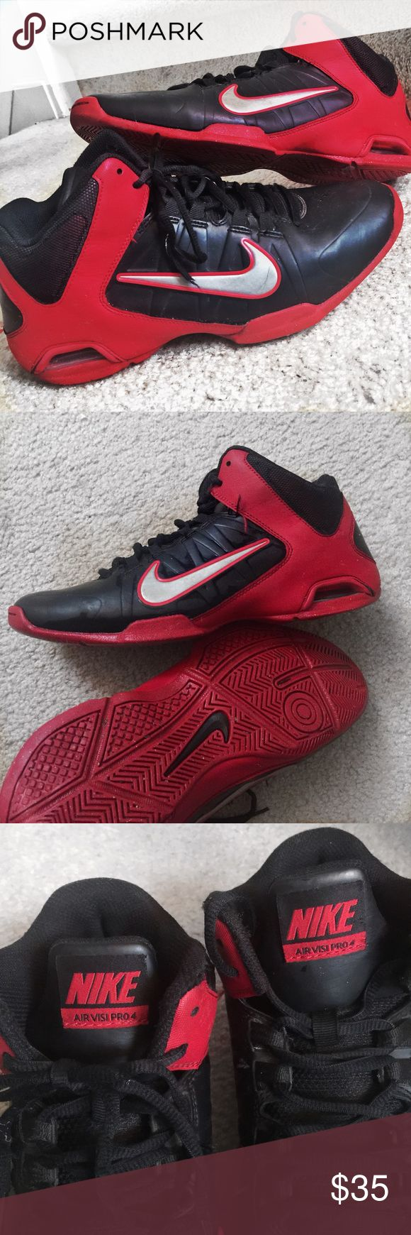 NIKE AIR VISI PRO 4 Black Red Basketball Sneakers Men's NIKE AIR VISI PRO 4 IV Black Red Basketball Sneakers Size 8.5 Nike Shoes Sneakers