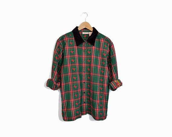 Vintage Holiday Plaid Shirt with Velvet by twigandspokevintage