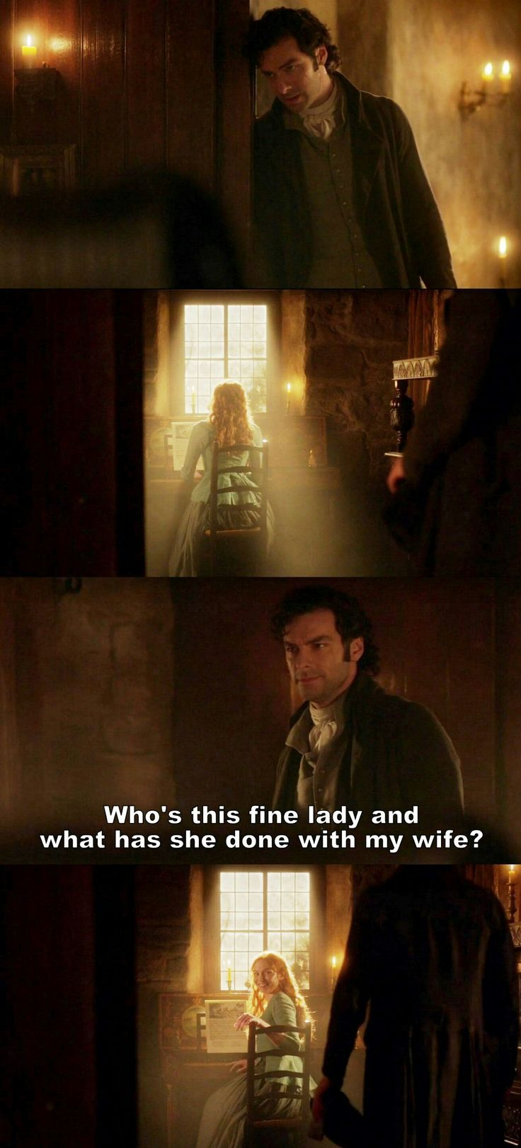 """Who's this fine lady and what has she done with my wife?"" - Ross & Demelza #Poldark"