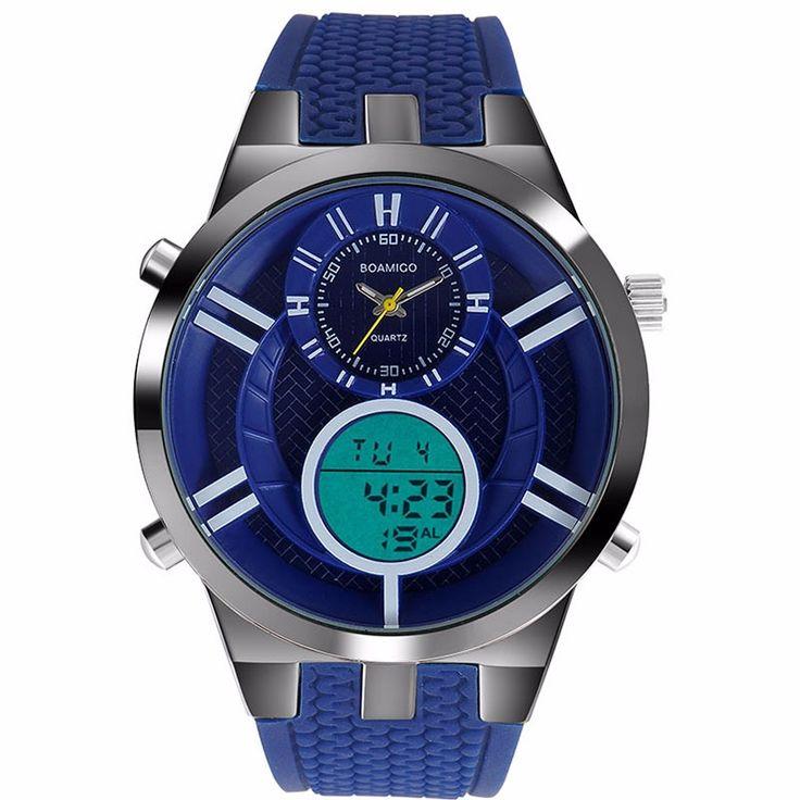 Men Sport Watches BOAMIGO brand Fashion Quartz Watches Analog Digital Watch Men Rubber LED Waterproof Wristwatches reloj hombre