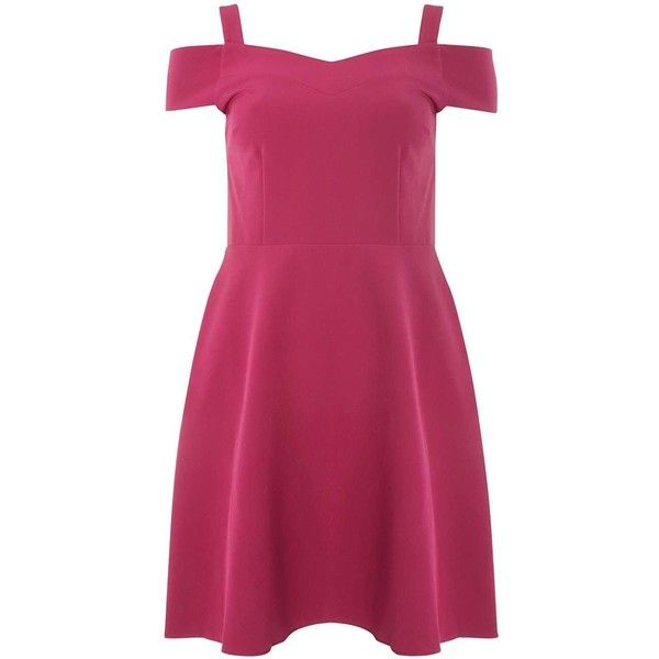 Dorothy Perkins Fuschia Bardot Fit And Flare Dress ($69) ❤ liked on Polyvore featuring dresses, pink, fuchsia pink dress, pink dress, fuschia pink dress, purple dress and pink purple dress