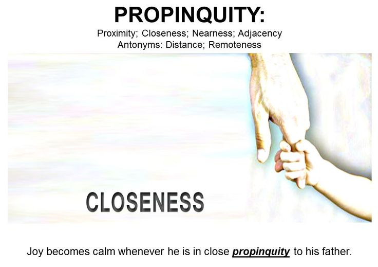 "#WordoftheDay PROPINQUITY: the state of being close to someone or something; proximity; vicinity;l vicinage; close kinship; close relationship; family connection; blood ties; consanguinity. Antonym: Distance; Remoteness. ""The propinquity of the danger ahead made the scouts turn around and take a different path."""