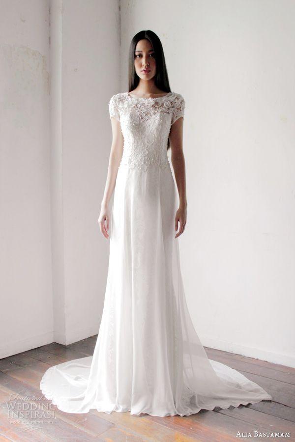 alia bastamam 2013 short sleeve wedding dress
