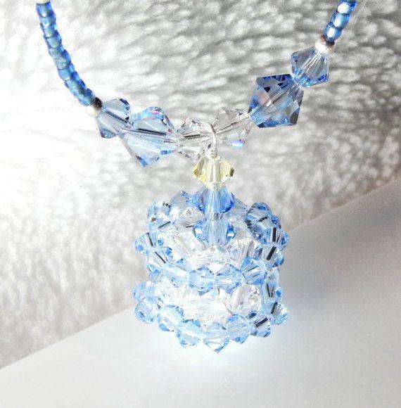 Beaded Blue Birthday Cake Swarovski Crystal by BSparkleDesigns