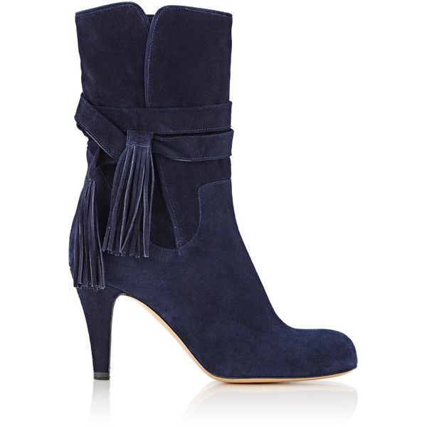 Chloé Suede Ankle Boots (12 855 ZAR) ❤ liked on Polyvore featuring mens, men's shoes, men's boots, shoes, boots, ankle boots, blue, short boots, blue suede booties and high heel ankle boots