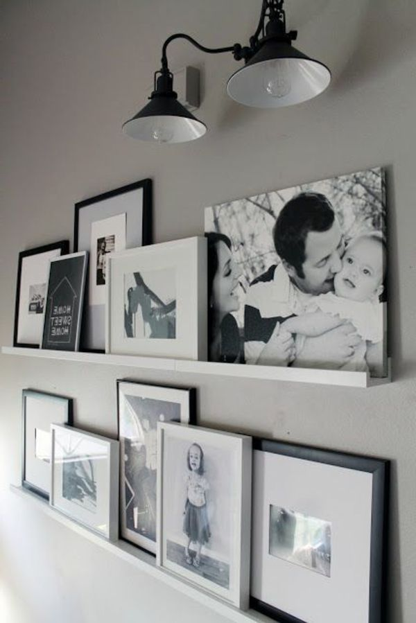 Pictures in black and white in the cool bedroom