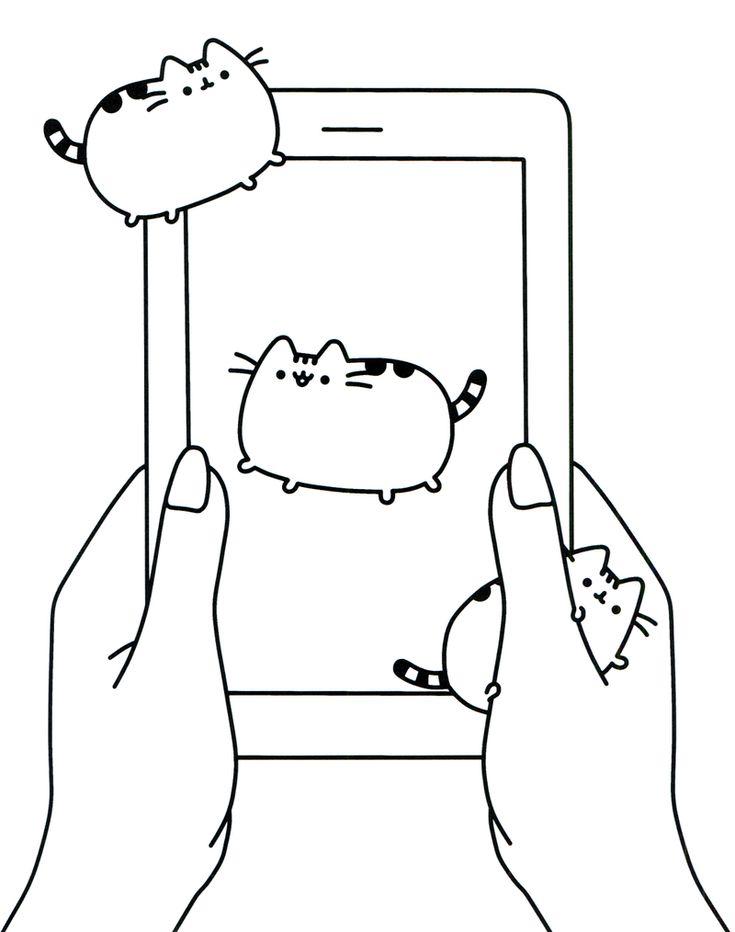 Pusheen 고양이 캐릭터 색칠 공부 4탄 | 색칠공부 책, 고양이, 인쇄 가능
