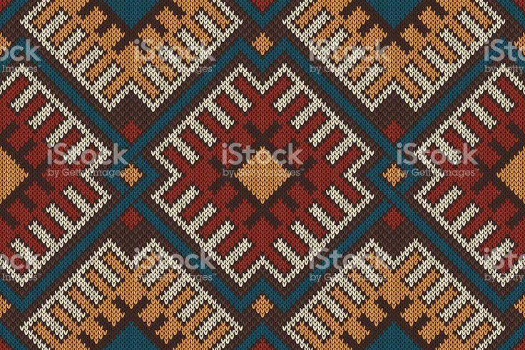 Племенной Бесшовный узор ацтеков на шерстяной вязаной текстурой Сток Вектор Стоковая фотография