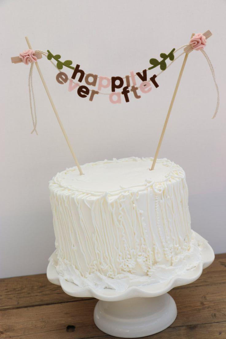 Wedding Cake Banner, Wedding Cake Topper, Wedding Cake Garland, Happily Ever After Cake Banner, Happily Ever After Cake Topper: Rustic Hues by pipsqueakandbean on Etsy