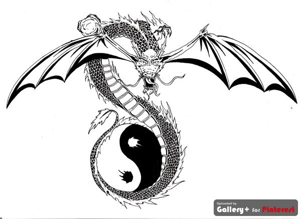 zen dragon tattoo with yin amp yang symbol tattoo amp dragon