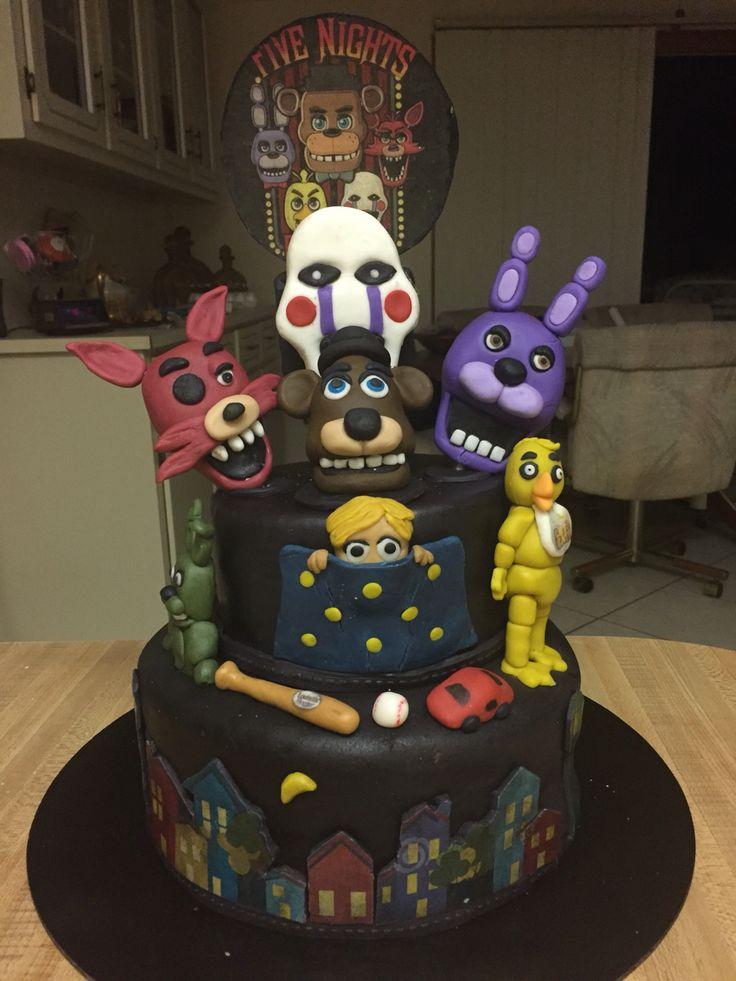 """Five Night's at Freddy's 4"" birthday cake"