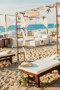 Cool lounge area for a beach wedding.