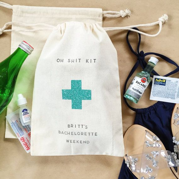 Glitter Hangover Kit bag w/Customizable top & by PaperArtScissors