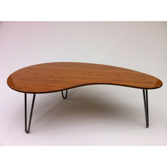 Mid Century Modern Coffee Table - Kidney Bean Shaped - Atomic Era Biomorphic Boomerang Design In Caramelized Bamboo