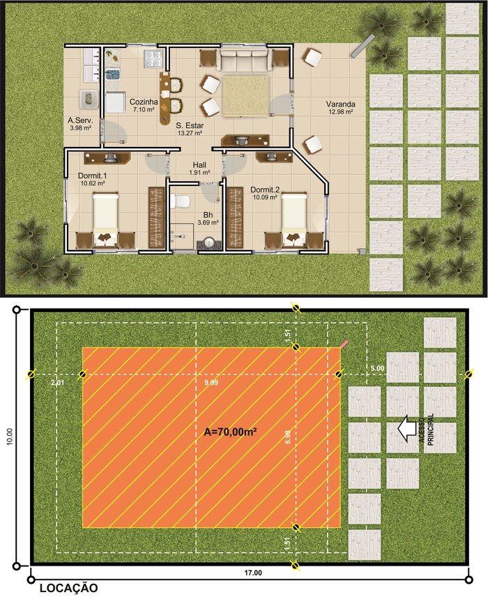 ProjetarCasas: Planta de Casas   Planta de casa térrea; 2 quartos, varanda e coz americana - Cód 44