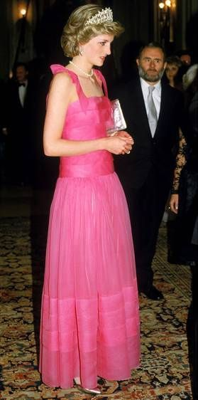 April 20, 1985 ~ Princess Diana is oh so pretty in pink wearing the Grand Duchess Vladimir Tiara [with the Pearls in] is attending the opera at La Scala in Milan with Prince Charles during their Royal Tour of Italy.
